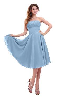 ColsBM Lena Dusty Blue Plain Strapless Zip up Knee Length Pleated Prom Dresses
