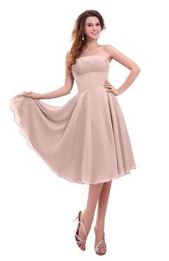 ColsBM Lena Dusty Rose Plain Strapless Zip up Knee Length Pleated Prom Dresses