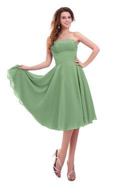 ColsBM Lena Fair Green Plain Strapless Zip up Knee Length Pleated Prom Dresses
