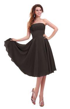 ColsBM Lena Fudge Brown Plain Strapless Zip up Knee Length Pleated Prom Dresses