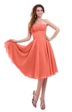 ColsBM Lena Fusion Coral Plain Strapless Zip up Knee Length Pleated Prom Dresses
