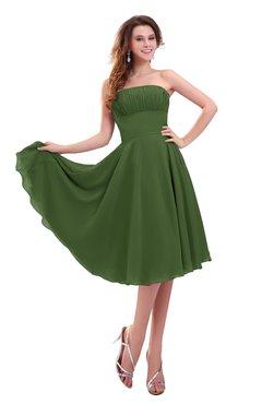 ColsBM Lena Garden Green Plain Strapless Zip up Knee Length Pleated Prom Dresses
