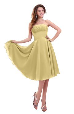 ColsBM Lena Gold Plain Strapless Zip up Knee Length Pleated Prom Dresses