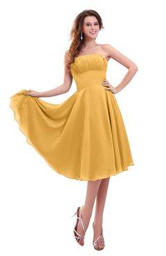 ColsBM Lena Golden Cream Plain Strapless Zip up Knee Length Pleated Prom Dresses