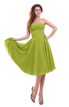 ColsBM Lena Green Oasis Plain Strapless Zip up Knee Length Pleated Prom Dresses
