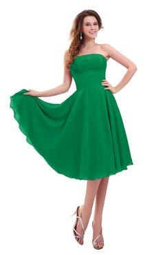 ColsBM Lena Green Plain Strapless Zip up Knee Length Pleated Prom Dresses