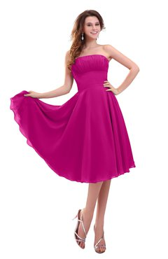 ColsBM Lena Hot Pink Plain Strapless Zip up Knee Length Pleated Prom Dresses