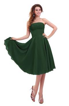 ColsBM Lena Hunter Green Plain Strapless Zip up Knee Length Pleated Prom Dresses