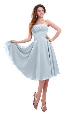 ColsBM Lena Illusion Blue Plain Strapless Zip up Knee Length Pleated Prom Dresses