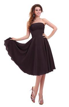 ColsBM Lena Italian Plum Plain Strapless Zip up Knee Length Pleated Prom Dresses