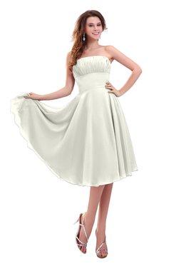 ColsBM Lena Ivory Plain Strapless Zip up Knee Length Pleated Prom Dresses