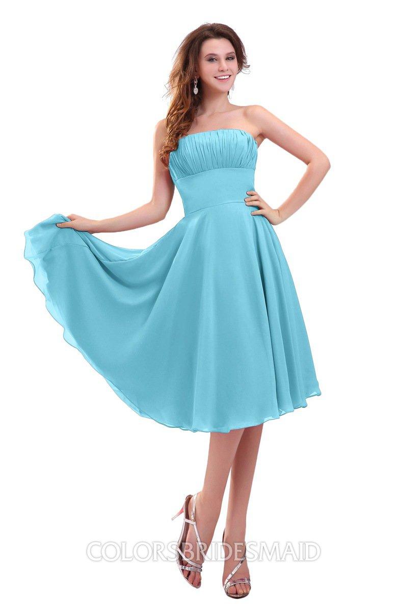 Light Blue Plain Strapless Zip up Knee Length Pleated Prom Dresses ...