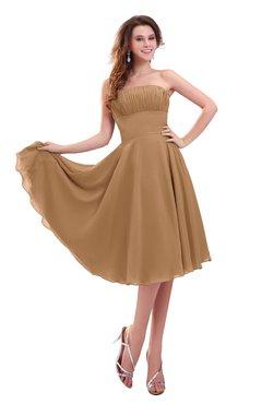 ColsBM Lena Light Brown Plain Strapless Zip up Knee Length Pleated Prom Dresses