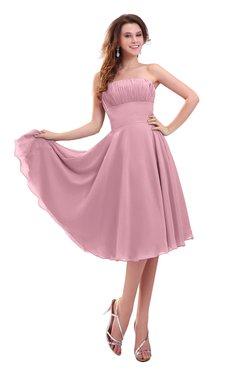 ColsBM Lena Light Coral Plain Strapless Zip up Knee Length Pleated Prom Dresses