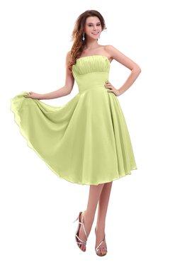 ColsBM Lena Lime Green Plain Strapless Zip up Knee Length Pleated Prom Dresses