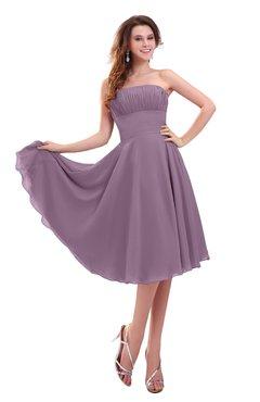 ColsBM Lena Mauve Plain Strapless Zip up Knee Length Pleated Prom Dresses