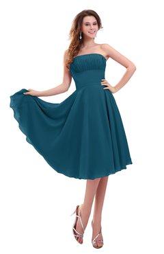 ColsBM Lena Moroccan Blue Plain Strapless Zip up Knee Length Pleated Prom Dresses