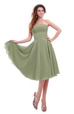ColsBM Lena Moss Green Plain Strapless Zip up Knee Length Pleated Prom Dresses