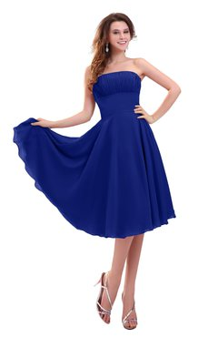 ColsBM Lena Nautical Blue Plain Strapless Zip up Knee Length Pleated Prom Dresses
