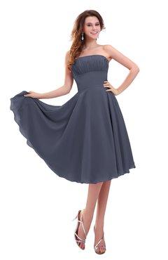 ColsBM Lena Nightshadow Blue Plain Strapless Zip up Knee Length Pleated Prom Dresses