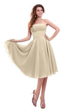 ColsBM Lena Novelle Peach Plain Strapless Zip up Knee Length Pleated Prom Dresses