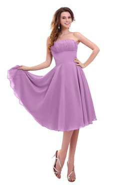 ColsBM Lena Orchid Plain Strapless Zip up Knee Length Pleated Prom Dresses