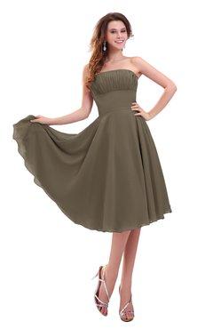 ColsBM Lena Otter Plain Strapless Zip up Knee Length Pleated Prom Dresses