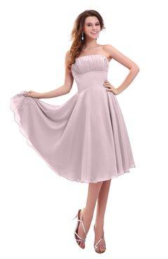ColsBM Lena Pale Lilac Plain Strapless Zip up Knee Length Pleated Prom Dresses