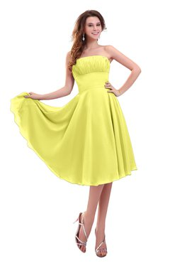 ColsBM Lena Pale Yellow Plain Strapless Zip up Knee Length Pleated Prom Dresses