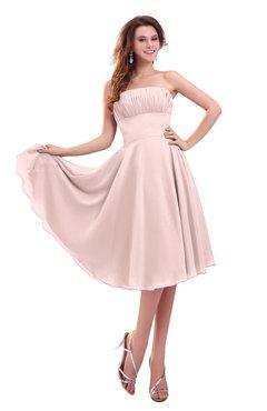 ColsBM Lena Pastel Pink Plain Strapless Zip up Knee Length Pleated Prom Dresses
