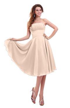 ColsBM Lena Peach Puree Plain Strapless Zip up Knee Length Pleated Prom Dresses