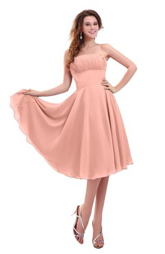 ColsBM Lena Peach Plain Strapless Zip up Knee Length Pleated Prom Dresses
