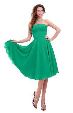 ColsBM Lena Pepper Green Plain Strapless Zip up Knee Length Pleated Prom Dresses