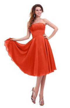 ColsBM Lena Persimmon Plain Strapless Zip up Knee Length Pleated Prom Dresses
