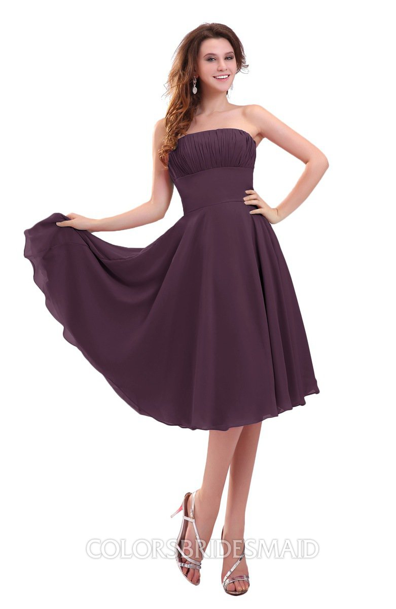 444725dd057 ColsBM Lena Plum Plain Strapless Zip up Knee Length Pleated Prom Dresses
