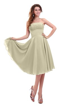 ColsBM Lena Putty Plain Strapless Zip up Knee Length Pleated Prom Dresses