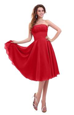 ColsBM Lena Red Plain Strapless Zip up Knee Length Pleated Prom Dresses