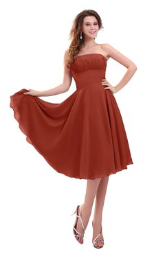 ColsBM Lena Rust Plain Strapless Zip up Knee Length Pleated Prom Dresses