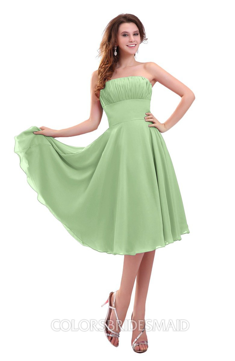 6a74582758 ColsBM Lena Sage Green Plain Strapless Zip up Knee Length Pleated Prom  Dresses