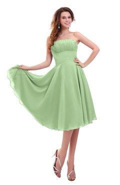 ColsBM Lena Sage Green Plain Strapless Zip up Knee Length Pleated Prom Dresses