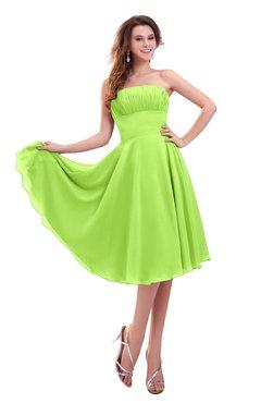ColsBM Lena Sharp Green Plain Strapless Zip up Knee Length Pleated Prom Dresses