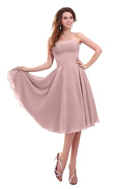 ColsBM Lena Silver Pink Plain Strapless Zip up Knee Length Pleated Prom Dresses