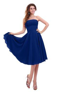 ColsBM Lena Sodalite Blue Plain Strapless Zip up Knee Length Pleated Prom Dresses