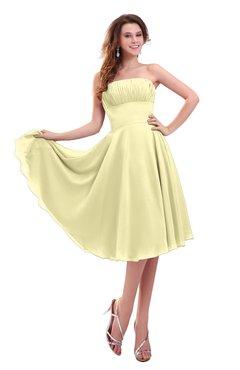 ColsBM Lena Soft Yellow Plain Strapless Zip up Knee Length Pleated Prom Dresses