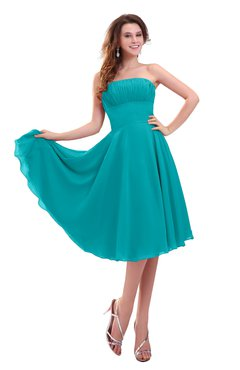 ColsBM Lena Teal Plain Strapless Zip up Knee Length Pleated Prom Dresses