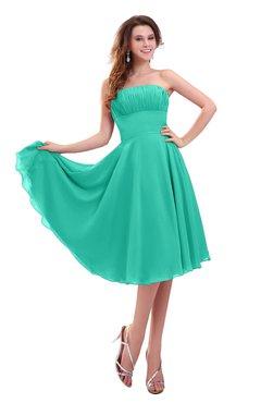 ColsBM Lena Viridian Green Plain Strapless Zip up Knee Length Pleated Prom Dresses