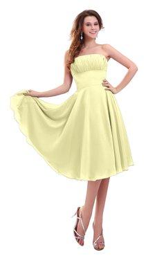 ColsBM Lena Wax Yellow Plain Strapless Zip up Knee Length Pleated Prom Dresses