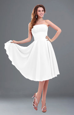 ColsBM Lena White Plain Strapless Zip up Knee Length Pleated Prom Dresses