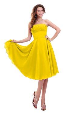 ColsBM Lena Yellow Plain Strapless Zip up Knee Length Pleated Prom Dresses