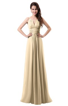 ColsBM Daisy Apricot Gelato Simple Column Scoop Chiffon Ruching Bridesmaid Dresses